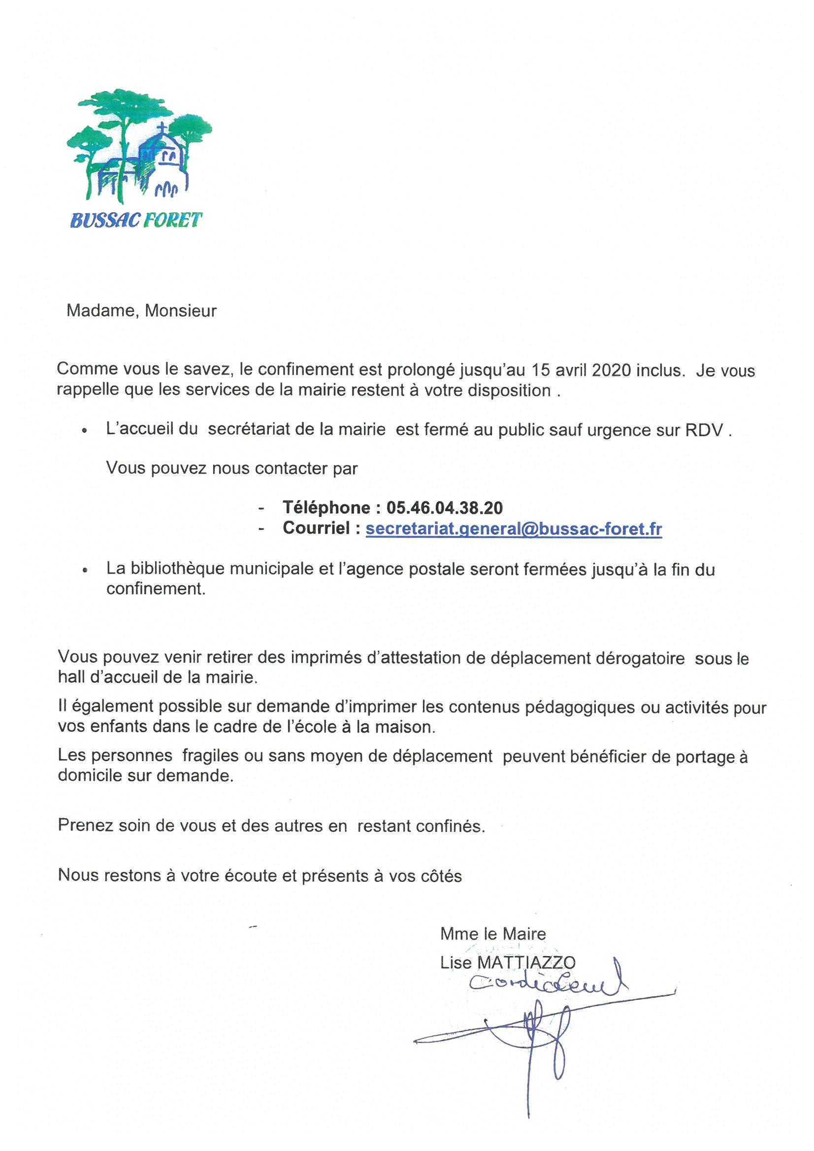 lettre du maire